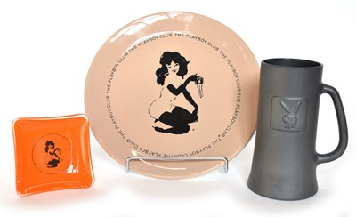 Lot 131 - Three pieces of 1970's Playboy pottery/glass
