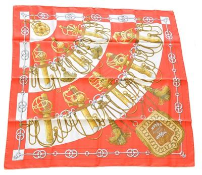 "Lot 161 - A Hermès ""Cliquetis"" silk scarf by Julia Abadie"