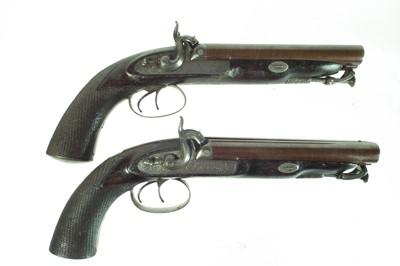 Lot 2 - Pair of double barrel percussion Howda pistols