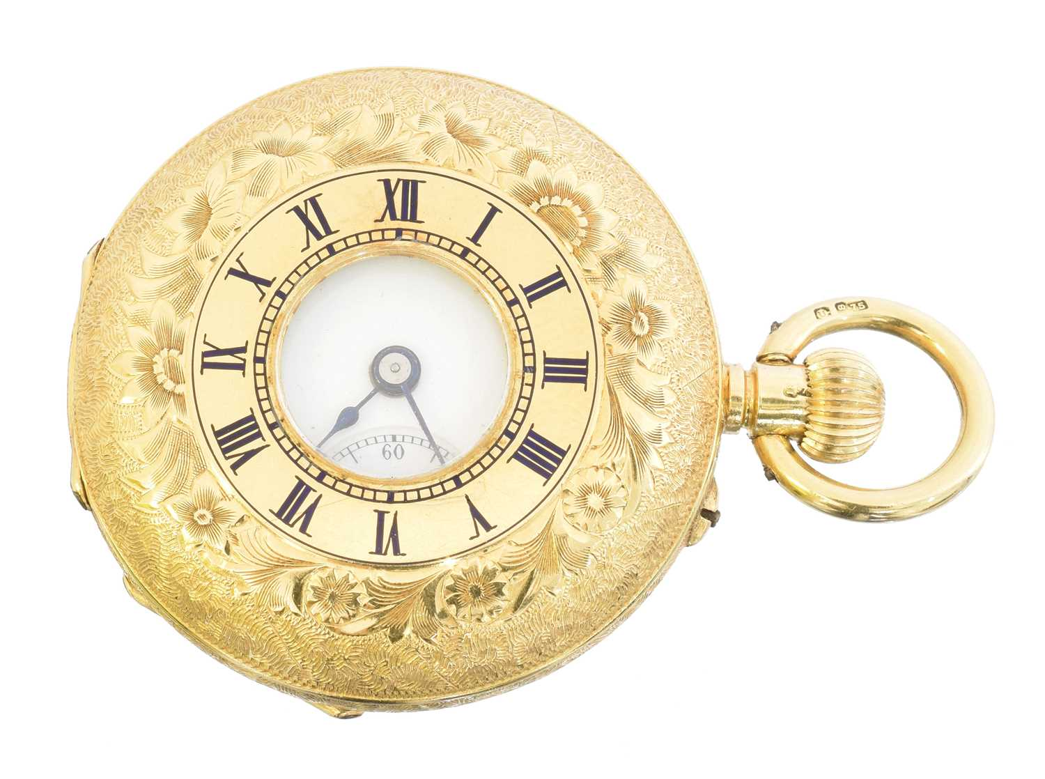 Lot An early 20th century 18ct gold half hunter fob watch