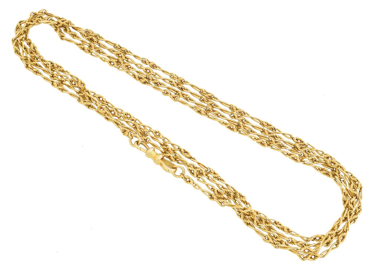 Lot An early 20th century 18ct gold Longuard chain