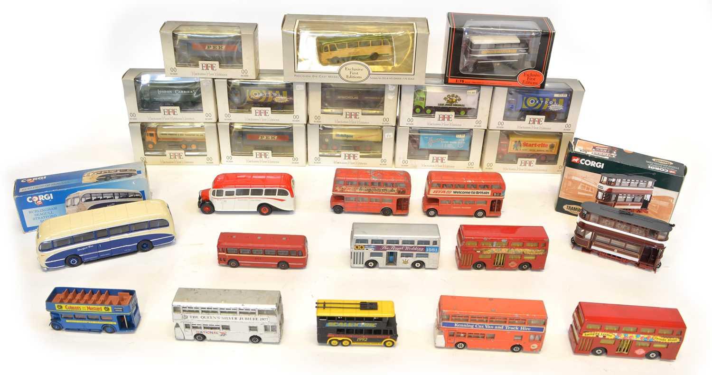 Lot 26 diecast toy busses, trams, vans and lorries...