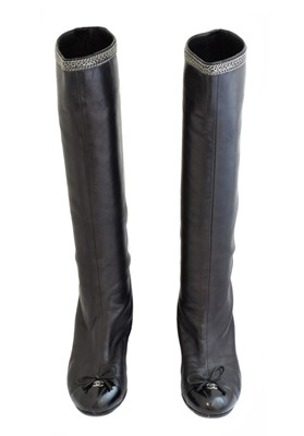 Lot 25 - A pair of heeled boots by Chanel