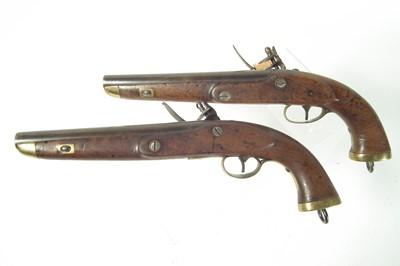 Lot 4 - Pair of Belgian flintlock belt pistols