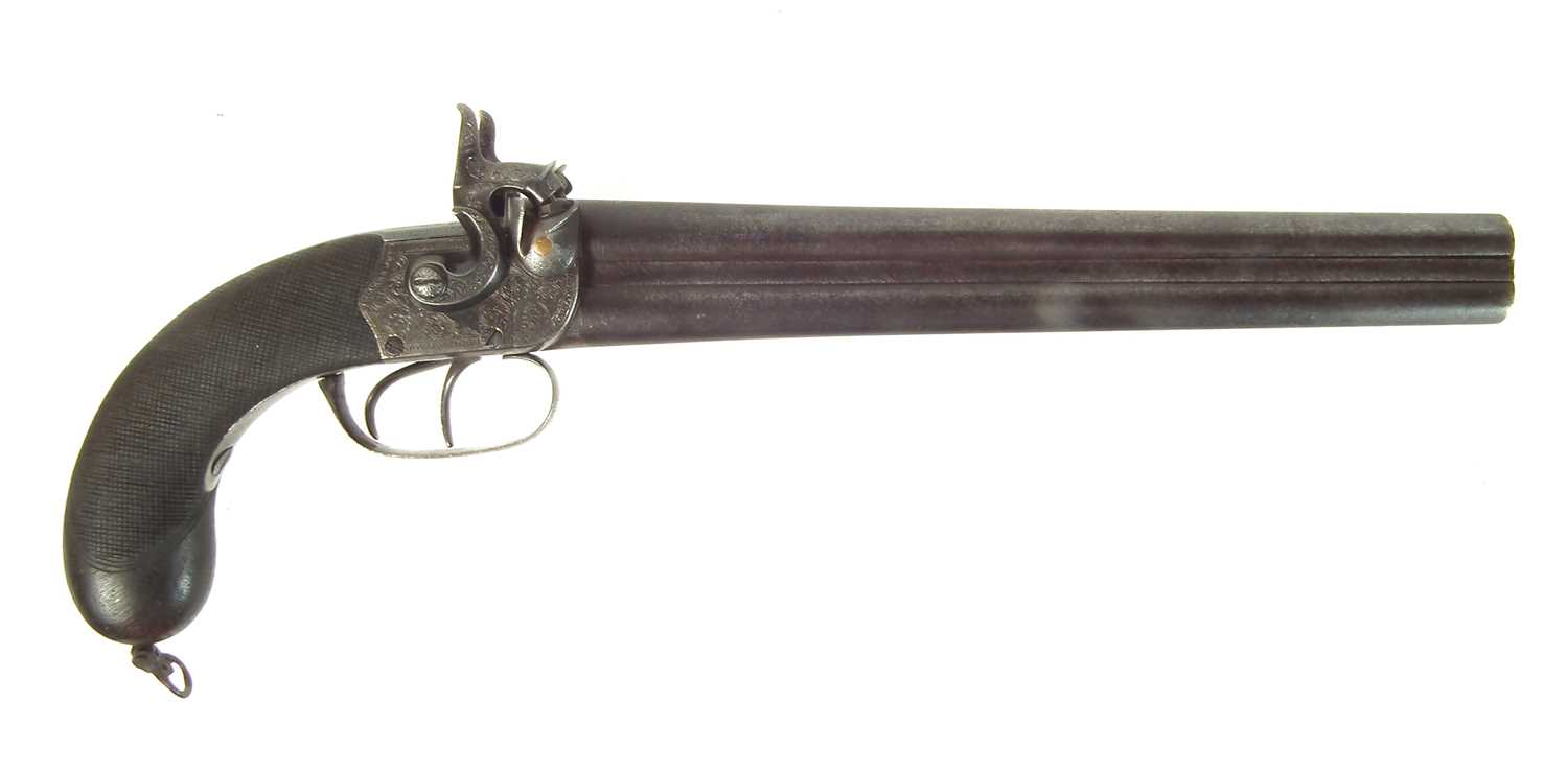 Lot 9 - Double barrel percussion coach pistol