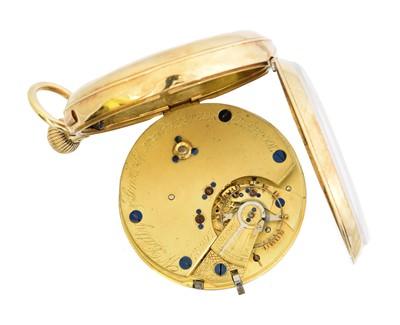 Lot An 18ct gold open face pocket watch by W. Batty & Sons Ltd.