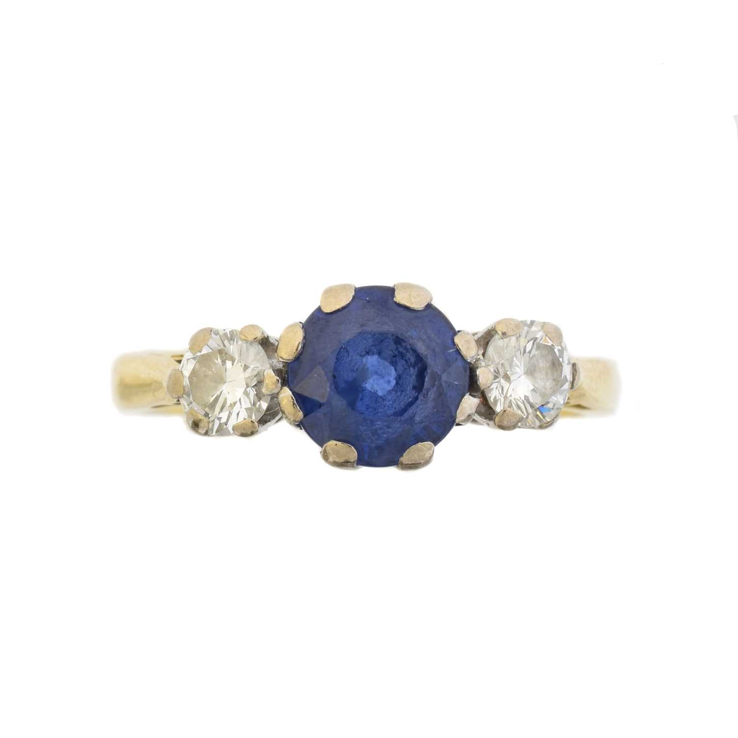 Lot An 18ct gold sapphire and diamond three stone ring by Boodles