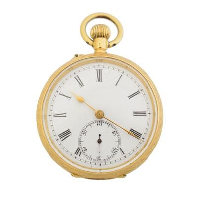 Lot An 18ct gold open face fob watch