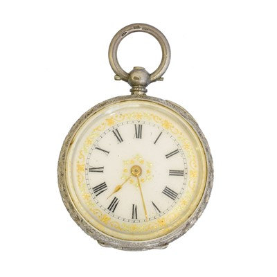 Lot 58 - A silver open face fob watch