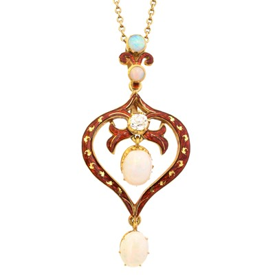 Lot 65 - An early 20th century enamel opal and diamond pendant by Mrs Newman