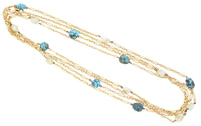 Lot 90 - An early 20th century turquoise and pearl longuard chain