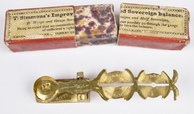 Lot 70 - T. Simmons's Improved Sovereign Balance, boxed.