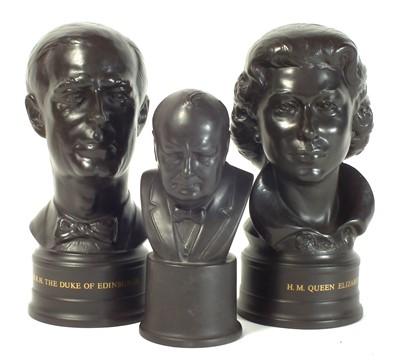 Lot 131 - Three Wedgwood black basalt busts