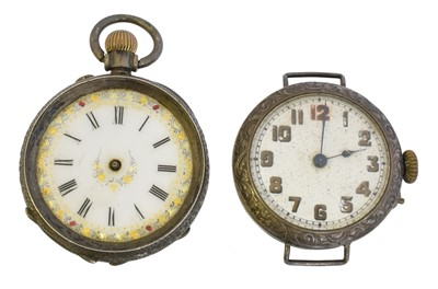 Lot 55 - Two silver cased watches