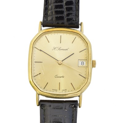 Lot 54 - A 9ct gold cased watch by H. Samuel