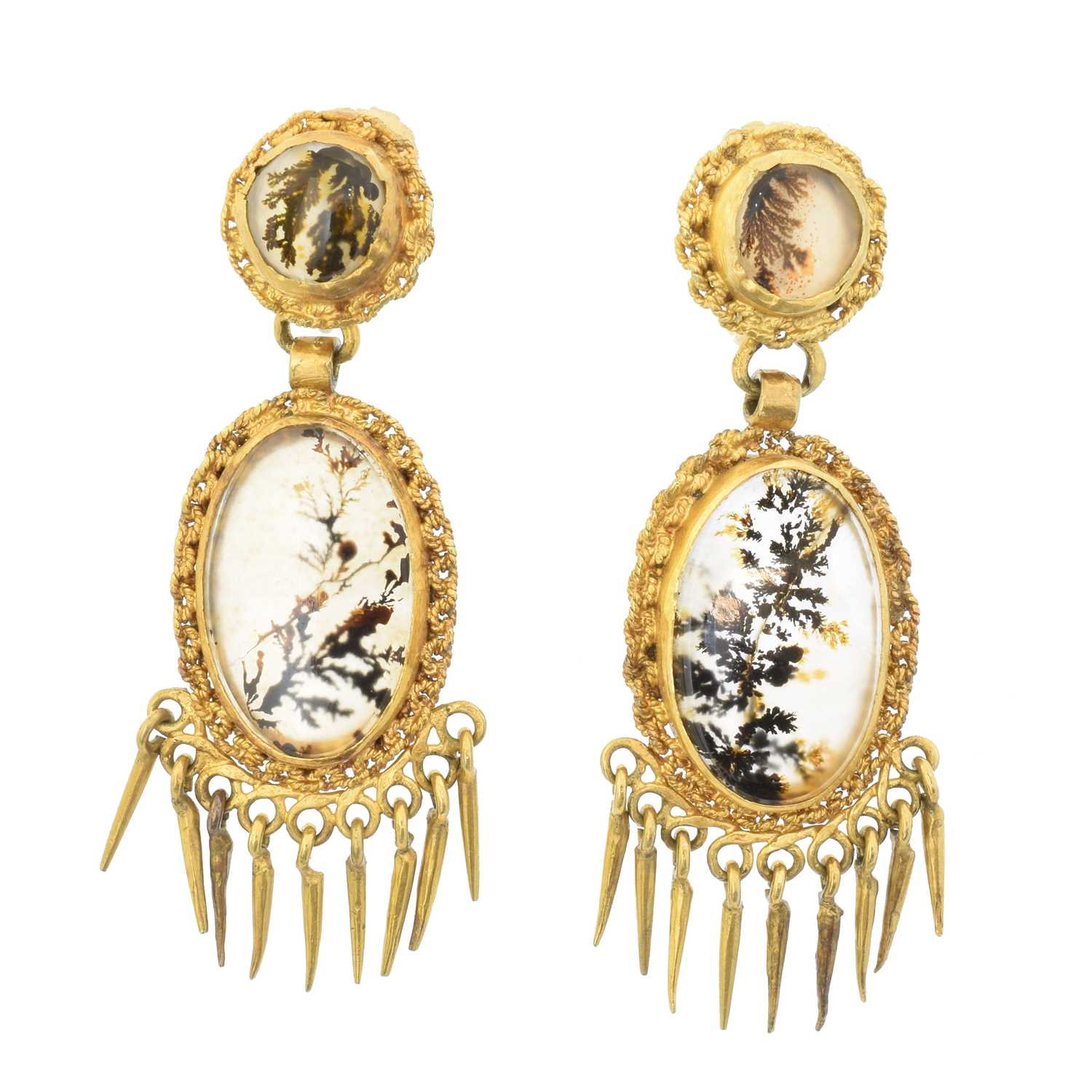 Lot 40 - A pair of Victorian moss agate earrings