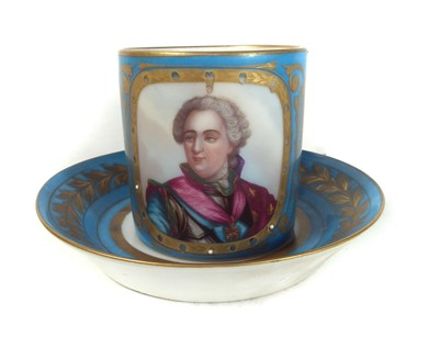 Lot 232 - Sevres style coffee can and saucer