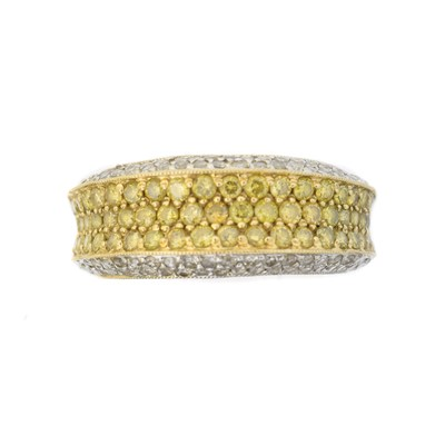 Lot 88 - A colour treated 'yellow' diamond and diamond band ring