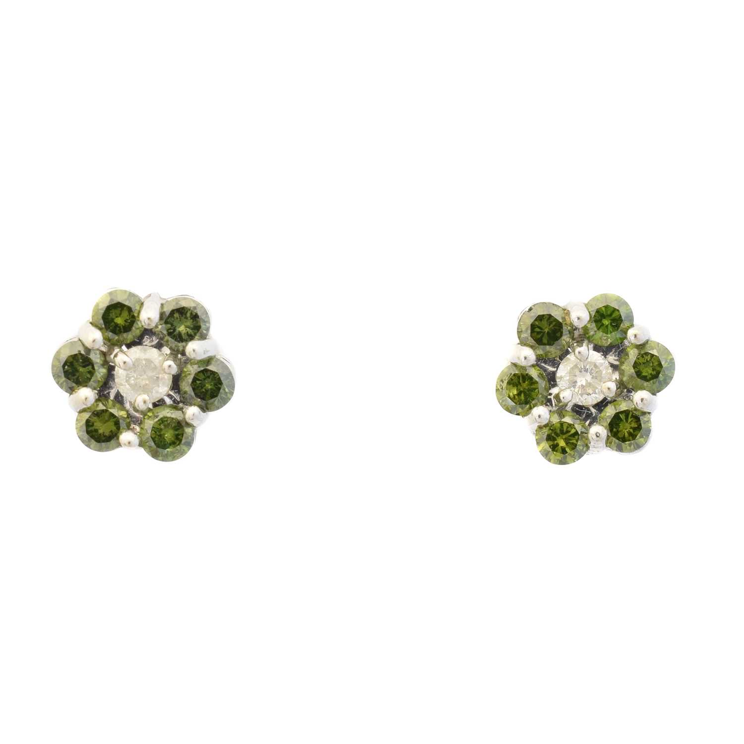 Lot 36 - A pair of colour treated 'green' diamond and diamond cluster earrings