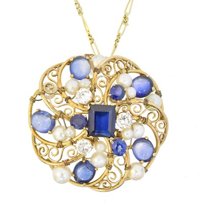 Lot 60 - A sapphire, diamond and cultured pearl pendant