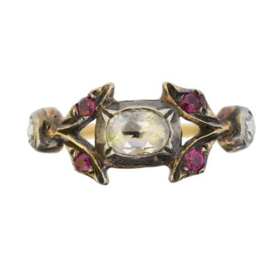 Lot 78 - A diamond and ruby dress ring
