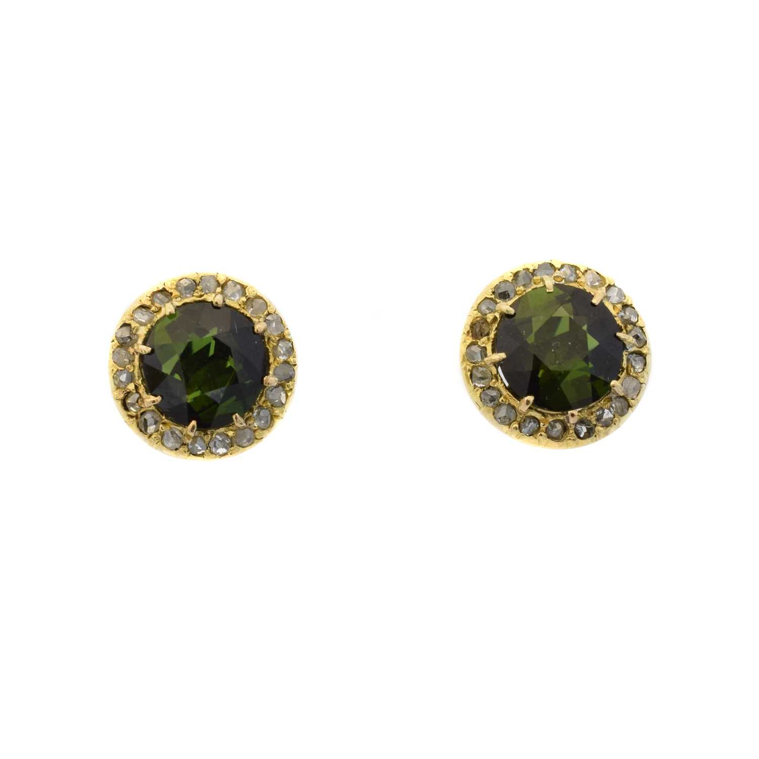 Lot 37 - A pair of green tourmaline and diamond earrings
