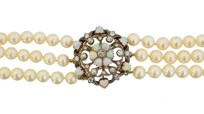 Lot 68 - An opal, diamond and cultured pearl choker necklace