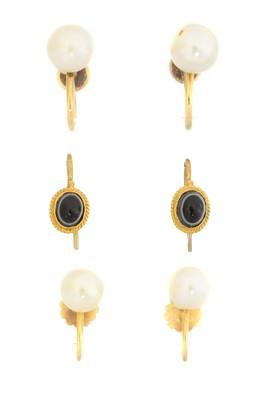Lot 13 - Three pairs of gem-set earrings