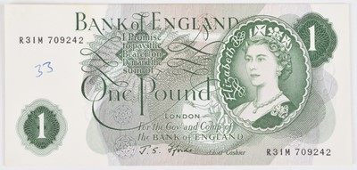 Lot 78 - Nine Bank of England consecutive One Pound banknotes, J.S. Fforde, UNC.