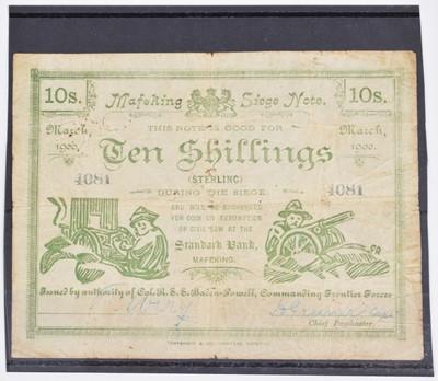 Lot 82 - A Mafeking Siege Ten Shillings banknote, March 1900.