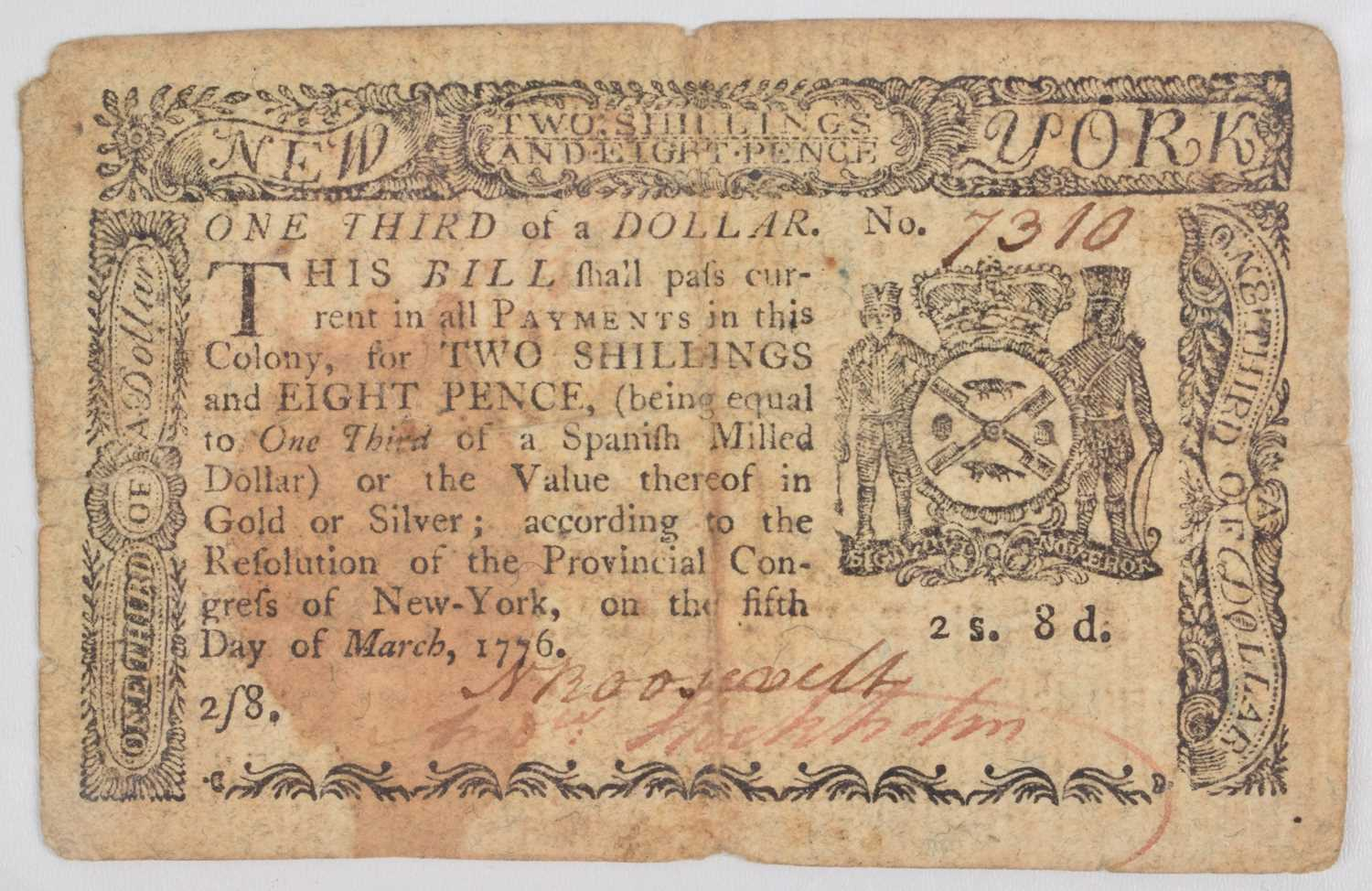 Lot 83 - New York Colonial Currency, One Third Dollar, 1776.