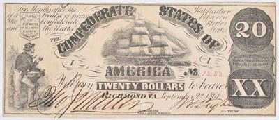 Lot 84 - 1861 Confederate States of America Twenty Dollars, Richmond, VA.