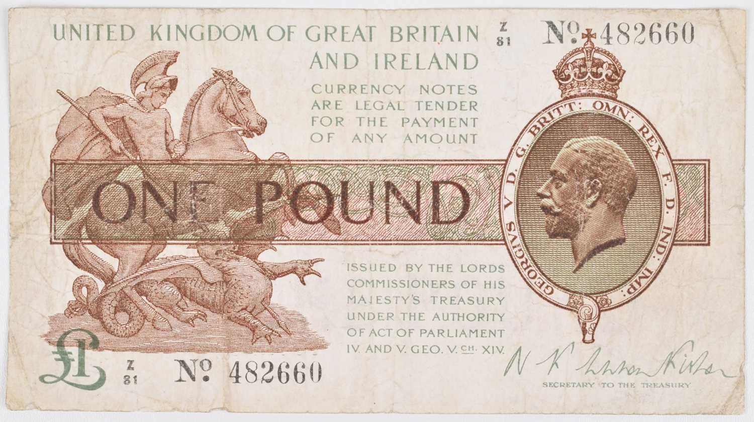 Lot 76 - First Fisher Issue (September 1919) One Pound banknote.