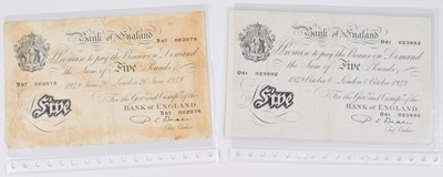 Lot 75 - Selection of British banknotes to include White Five Pounds and counterfeit WW2 Five Pounds.