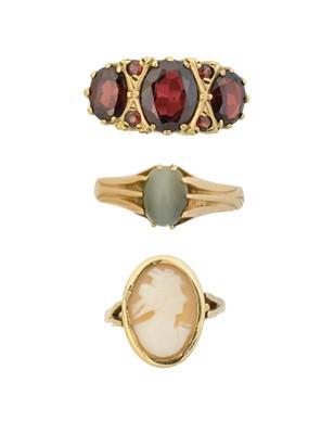 Lot 82 - Three gem-set dress rings