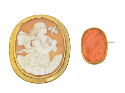 Lot 21 - Two cameo brooches