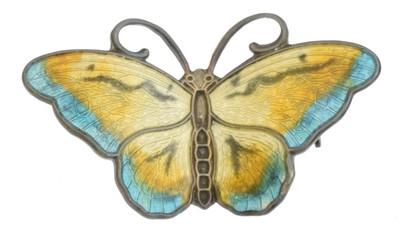 Lot 6 - A Norwegian silver enamel butterfly brooch by Hroar Prydz