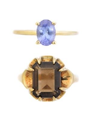 Lot 61 - Two 9ct gold gem-set dress rings