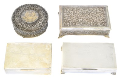 Lot 85 - Four silver and white metal boxes