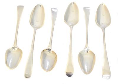 Lot 88 - Six George III silver dessert spoons