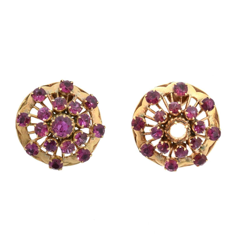Lot 14 - A pair of ruby earrings