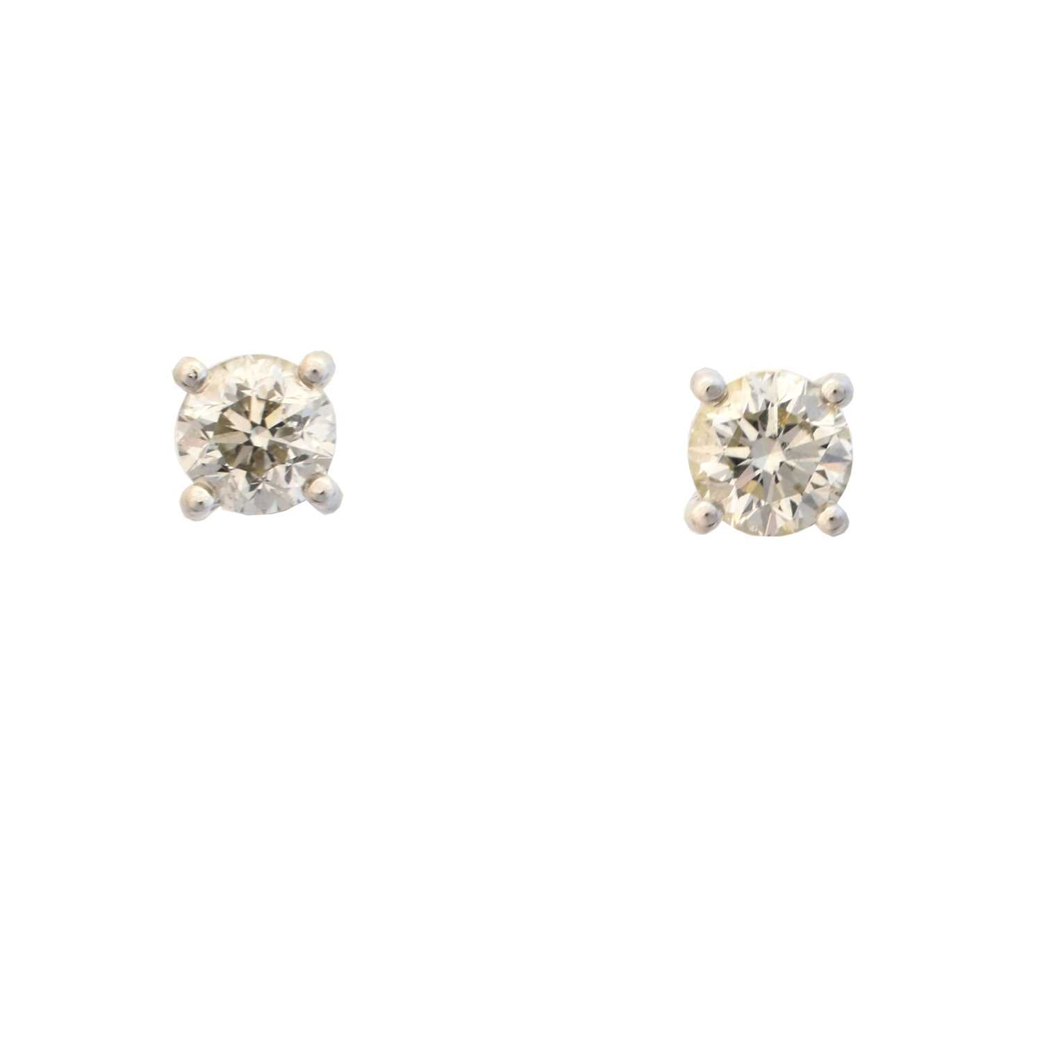Lot 40 - A pair of 18ct gold diamond stud earrings