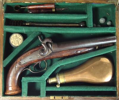 Lot 219 - Belgian percussion Howdah pistol