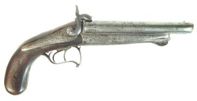 Lot 224 - Pinfire double barrel pistol