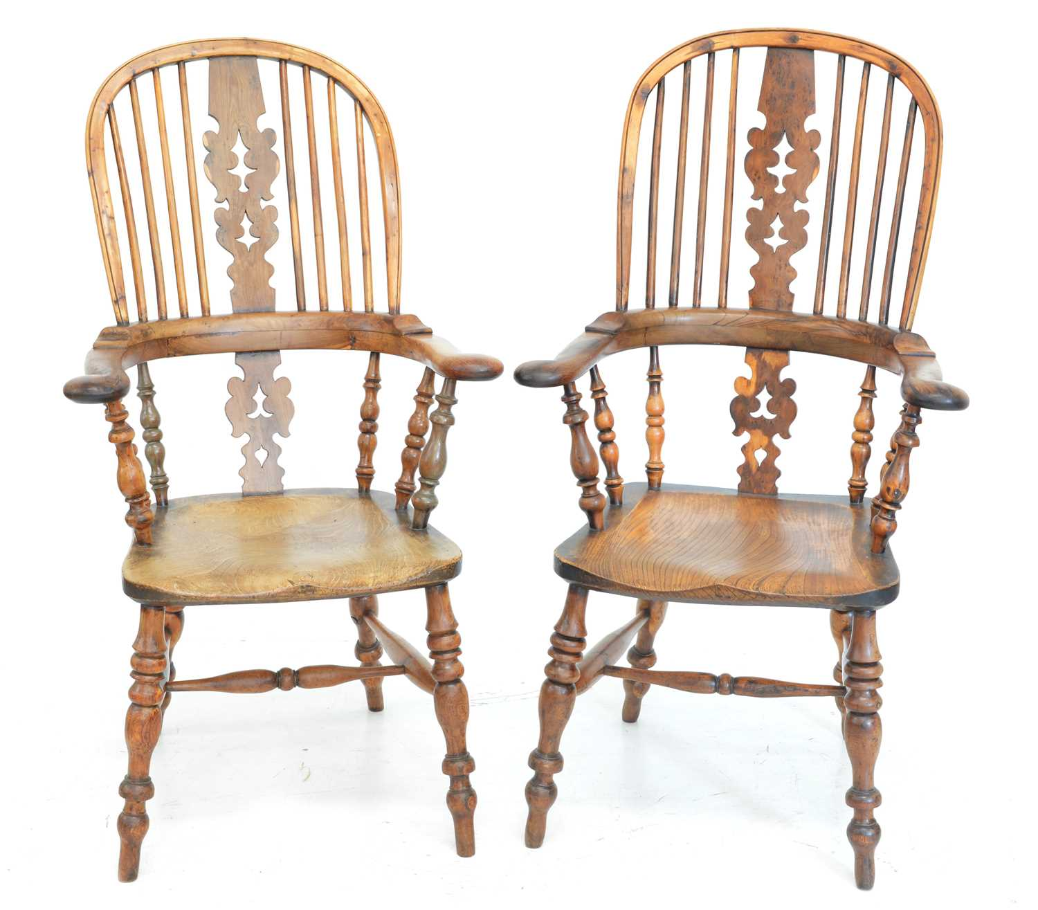 370 - A pair of mid-19th century yew wood and elm hight back Windsor chairs