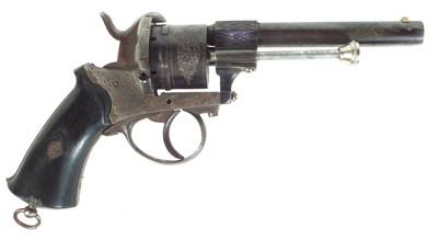Lot 252 - Belgian 9mm pinfire revolver, 3.5 inch octagonal barrel, six shot cylinder, chequered wood grips.   8mm Pinfire revolver