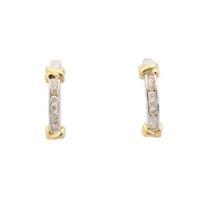 Lot 44 - A pair of diamond hoop earrings