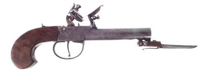 Lot 225 - Flintlock pocket pistol with bayonet by Smith