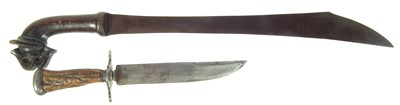 Lot 49 - Indonesian Klewang and a hunting knife.