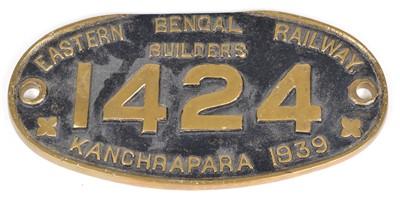 Lot 5 - Eastern Bengal Railway Builders, 1424, Kanchrapara, 1939 Brass Worksplate